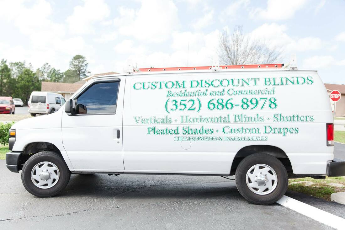 Picture of a white panel van. Custom Discount Blinds brings the showroom to you.